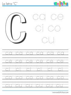 Silabas con la letra C http://www.edufichas.com/actividades/lectoescritura/silabas/silabas-con-c-cl-y-cr/ #escritura #letras #abecedario #aprender #caligrafía #sílabas