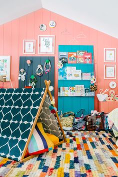 The Design Files Open House 2013 in Hawthorn, Melbourne, OPEN TODAY!  Kids room!  Furniture by Jardan, 'Wondertent' by Such Great Heights, rug by Loom, artwork by Rachel Castle and Beci Orpin, wall colour – Dulux Tango.  Photo - Brooke Holm.