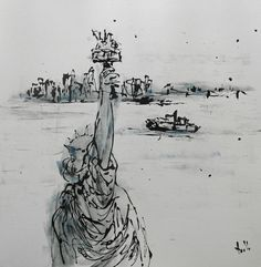 Painting Liberty Island by TableauxAxelleBosler on Etsy