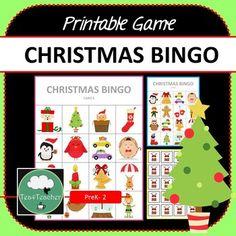Christmas Bingo - Cute Christmas Themed Bingo Game for PreK Kindergarten vocabulary Christmas Bingo Game, Valentine Bingo, Christmas Puzzle, Christmas Animals, Christmas Activities, Winter Activities, Christmas Christmas, Bingo Games For Kids, Printable Bingo Games