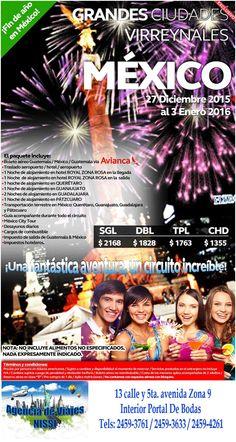 Celebra el fin de año y principios de otro en México ¡¡son 7 noches / 8 días!! ¡¡Aprovéchalos!! Sólo en Agencia de viajes Nissi interior de Portal de Bodas Guatemala