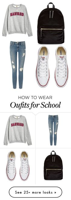 """Casual school outfit"" by glitterbug23 on Polyvore featuring Frame Denim, H&M, Converse and New Look"