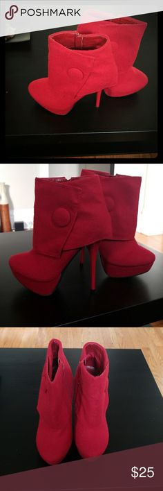 Never Been Worn! Red Stunning Booties w/ button! These booties are amazing! Stiletto heels with button accent. Zipper on side of boot!! New with box! Flannel material. Great for this weather! Shoes Ankle Boots & Booties