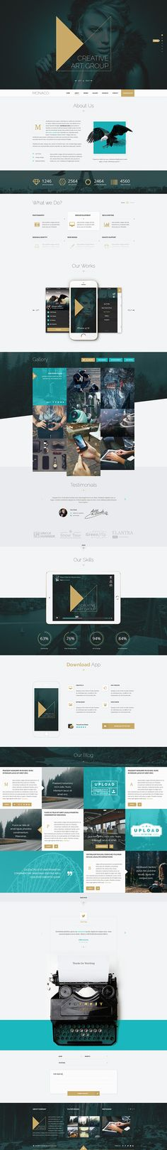 Monaco - Creative Bootstrap 3 PSD Template on Behance Design Sites, Web Design Examples, Creative Web Design, Site Design, Mobile Web Design, Web Ui Design, Interface Design, Web Layout, Layout Design