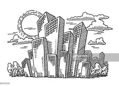 Vector Art : Sunny Skyscraper Business City Drawing
