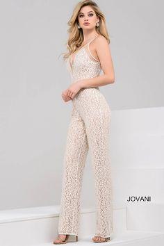 Ivory and Nude Sleeveless Sheer Neckline Jumpsuit #48490 #Jovani #Jumpsuit
