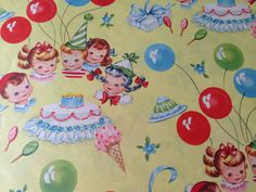 Vintage Gift Wrapping Paper  Juvenile Mid by TheGOOSEandTheHOUND, $6.00