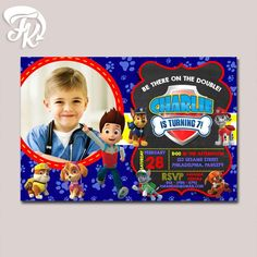 PAW Patrol Inspired Birthday Party Card Digital Invitation With Photo Kid…