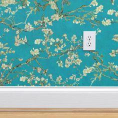 Van Gogh Almond Blossom Wallpaper teal blue sage green | Etsy