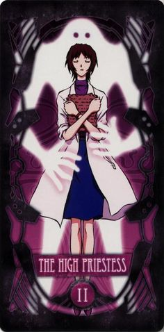 Evangelion - II – The High Priestess – Yui Ikari by Gainax * Neon Genesis Evangelion, Manga Anime, Art Anime, Eva Tarot, Yui Ikari, Rei Ayanami, Major Arcana, Cultura Pop, Tarot Decks