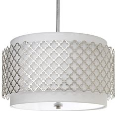 "Regina Andrew Lighting Modern Luxe Silver Chandelier 25""W x 25""D x 21.5""H Shade: 21""W x 21""D x 14""H Three 12"" extension poles, one 6"" required pole @Layla Grayce"