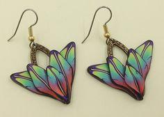 Rainbow Earrings Fimo Earrings Polymer Clay Earrings Leaf Earrings Boho Handmade Fantasy Kato Sculpy Dangle Polymer Clay E0147