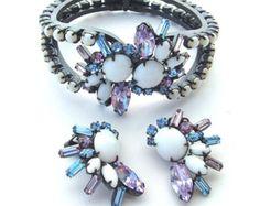 Vintage Snow White Milk Glass Jewelry Set Pastel Lavender Blue Rhinestone Demi Parure Clamper Bracelet