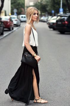 black maxi skirt with low side slit - Google Search