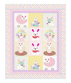 Your baby will love cuddling under this adorable bunny crib quilt. Its a whimsical wonderland of baby bunnies in carriages, flower pots, and