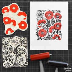 Working on carving some more floral print designs starting with these poppies…