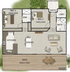 Tiny House Plans 460211655666794174 - House Plan 141 KR Bushman Style 2 Bedroom Granny flat Source by bfiket 2 Bed House, 2 Bedroom House Plans, Layouts Casa, House Layouts, Small House Floor Plans, Modern House Plans, Granny Flat Plans, House With Granny Flat, Granny Pods
