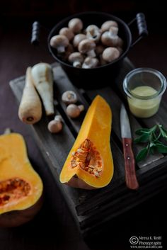 Beef Wellington with Roast Pumpkin, Parsnip and Mushrooms in a Creamy Sage and Mustard Sauce