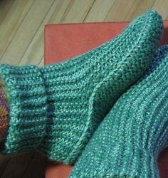 Sideways Slipper Boots w/ Options! Knitting pattern by Kris Basta Knit Slippers Free Pattern, Crochet Socks, Knit Or Crochet, Knit Socks, Knitting Patterns Free, Free Knitting, Knitting Socks, Knitted Slippers, Mens Slippers