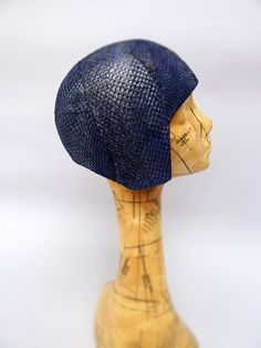 Aquanaut Cloche Helmet Hat in Metallic Indigo by JasminZorlu