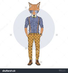 cool fox hipster, furry art illustration, fashion animal