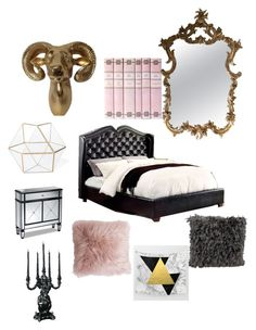 """""""Gold and pink bedroom secrets"""" by hairphilosophy on Polyvore featuring interior, interiors, interior design, home, home decor, interior decorating, Seletti, Thro, Furniture of America and Mina Victory"""