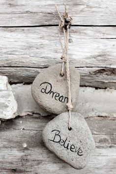 Simple pebble art: Dream, Believe, Achieve Pebble Painting, Pebble Art, Stone Painting, Rock Painting, Stone Crafts, Rock Crafts, Pebble Stone, Stone Art, Soul Stone