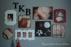 Navy & White Chevron, Red Curtain Hardware & a Gallery Wall - Sonya Hamilton Designs Nursery Themes, Nursery Room, Kids Bedroom, Nursery Ideas, Child's Room, Baby Boy Rooms, Baby Boy Nurseries, Baseball Nursery, Football Theme Nursery