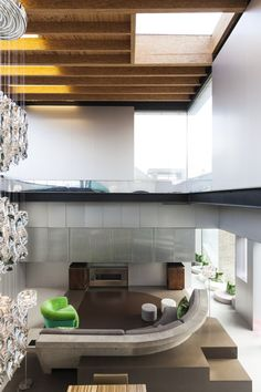 Daring design.  Cast concrete sofa in the living room of a $5.5M modern house in Sweden.