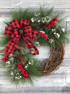 Excited to share this item from my shop: Buffalo Plaid Holiday Wreath for Front Door, Red Berry Wreath, Winter Pine Wreath, Red Buffalo Check Christmas Wreath, Farmhouse Christmas Christmas Wreaths To Make, Christmas Door Decorations, Holiday Wreaths, Rustic Christmas, Christmas Projects, Christmas Home, Christmas Holidays, Plaid Christmas, Christmas Ideas