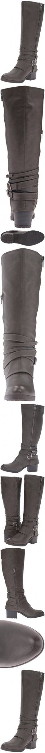 Madden Girl Women's Ratewc Wide Calf Riding Boot, Stone Paris, 8.5 M US