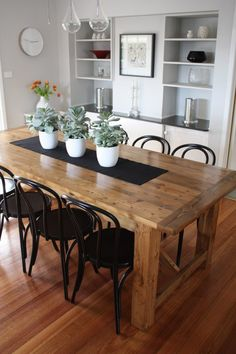 Outstanding Rustic Dining Table pairs with Bentwood Chairs. Posted on August 2013 by Stools and Chairs The post Rustic Dining Table pairs with Bentwood Chairs. Posted on August 2013 by St . Modern Dining, Modern Farmhouse Dining, Bentwood Chairs, Dining Furniture, Dining Room Decor, Farmhouse Dining Rooms Decor, Dining Room Table, Rustic Dining Room, Rustic Kitchen Tables