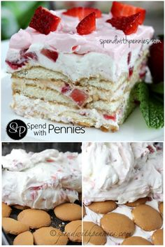 Whipped Strawberry Icebox Cake (No Bake!) A wonderfully easy dessert that is lig… Whipped Strawberry Icebox Cake (No Bake!) A wonderfully easy dessert that is light and rich at the same time! Icebox Desserts, Frozen Desserts, Summer Desserts, Easy Desserts, Delicious Desserts, Yummy Food, Healthy Food, Strawberry Icebox Cake, Strawberry Recipes