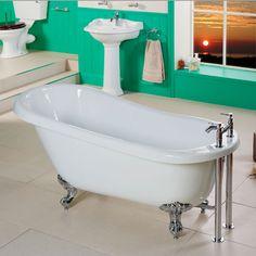 Freestanding Roll Top Slipper Bath With Chrome Feet - x - Park Royal - Better Bathrooms Bathroom Trends, Bathroom Ideas, Corner Bath, Roll Top Bath, Amazing Bathrooms, Better Bathrooms, World Of Interiors, Kitchen Doors, Family Bathroom