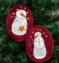 Folk Art Snowmen Ornaments