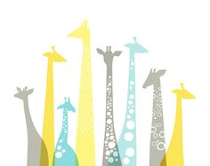 giraffes landscape. yellow gray sky blue. 20X16 by ThePaperNut, $40.00