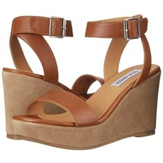Steve Madden Stryke Women's Wedge Shoes ($90) ❤ liked on Polyvore featuring shoes, sandals, wedge heel sandals, open toe sandals, ankle strap platform sandals, ankle tie wedge sandals and ankle tie sandals