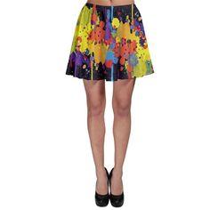 Crazy Multicolored Double Running Splashes Horizon Skater Skirt