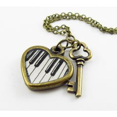 The Keys to My Heart Hand Painted Heart Necklace, Piano Keys, Music... ($25) ❤ liked on Polyvore featuring jewelry, necklaces, accessories, colares, lock necklace, engravable charms, heart necklace, heart jewelry and charm necklace