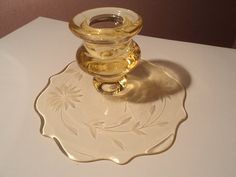 Yellow Depression JUBILEE Lancaster Glass Company Candlestick Candle Stick 1930's Very Hard To Find Candle Holder Candleholder -- Beautiful!