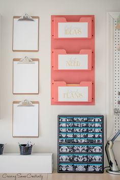 Home Office DIY Mail Sorter, clipboards, and storage cabinet in pretty teal and coral colors