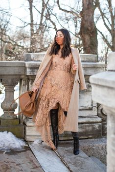 Romance and structure in lace and a tailored coat. Monochromatic + lace + pinstripes + pillow-soft bag... All of my favorites in one look!