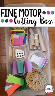 Setting up a cutting box is a great way to have fine motor cutting practice for kids. #finemotor #preschool #kindergarten #sarajcreations