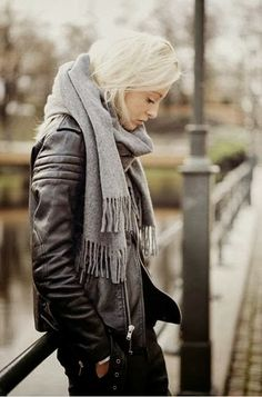 Fall outfit with black leather jacket and grey muffler