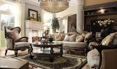 This classic sofa collection has a Italian style and will enhance the look of any traditional living room or home. Bring an elegant atmosphere in your home with the stunning European designs of this traditional formal living room collection. Living Room Upholstery, French Country Living Room, Room Set, Gorgeous Sofas, Country Living Room, Formal Living Rooms, Living Room Sets, Sofa Design, Sofa Set