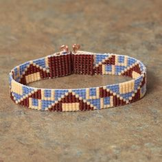 Southwestern Blue and Red Beaded Bracelet, Tribal, Native American Inspired, Boho Bohemian Hippie Artisanal Jewelry on Etsy Loom Bracelet Patterns, Bead Loom Bracelets, Bead Loom Patterns, Woven Bracelets, Beading Patterns, Bead Jewellery, Seed Bead Jewelry, Beaded Jewelry, Seed Beads