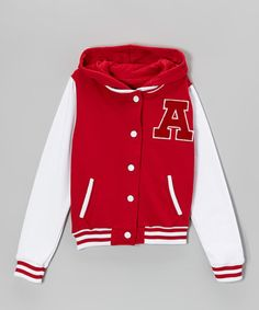 Look what I found on #zulily! Red Hooded Letterman Jacket - Girls #zulilyfinds