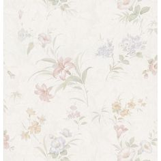 8 in. W x 10 in. H Lily Floral Wallpaper Sample, White