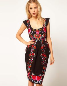ASOS Wiggle Dress With Exaggerated Hips And Embroidery