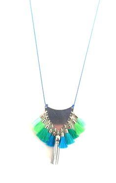 Green & blue tassel necklace Dis Bibisse